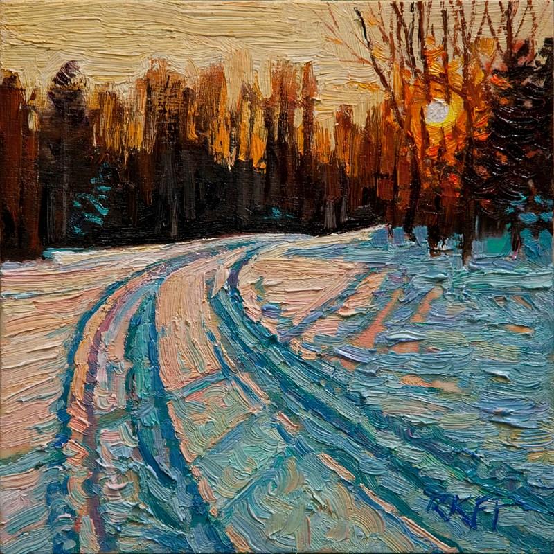"""""""Snowy Drive: 6x6 oil on panel"""" original fine art by Ken Faulks"""