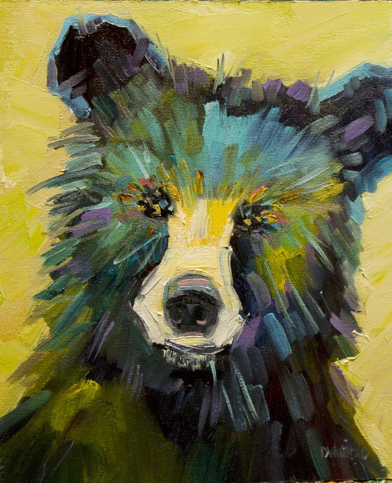 """ARTOUTWEST Diane Whitehead Black Bear Animal art oil painting"" original fine art by Diane Whitehead"