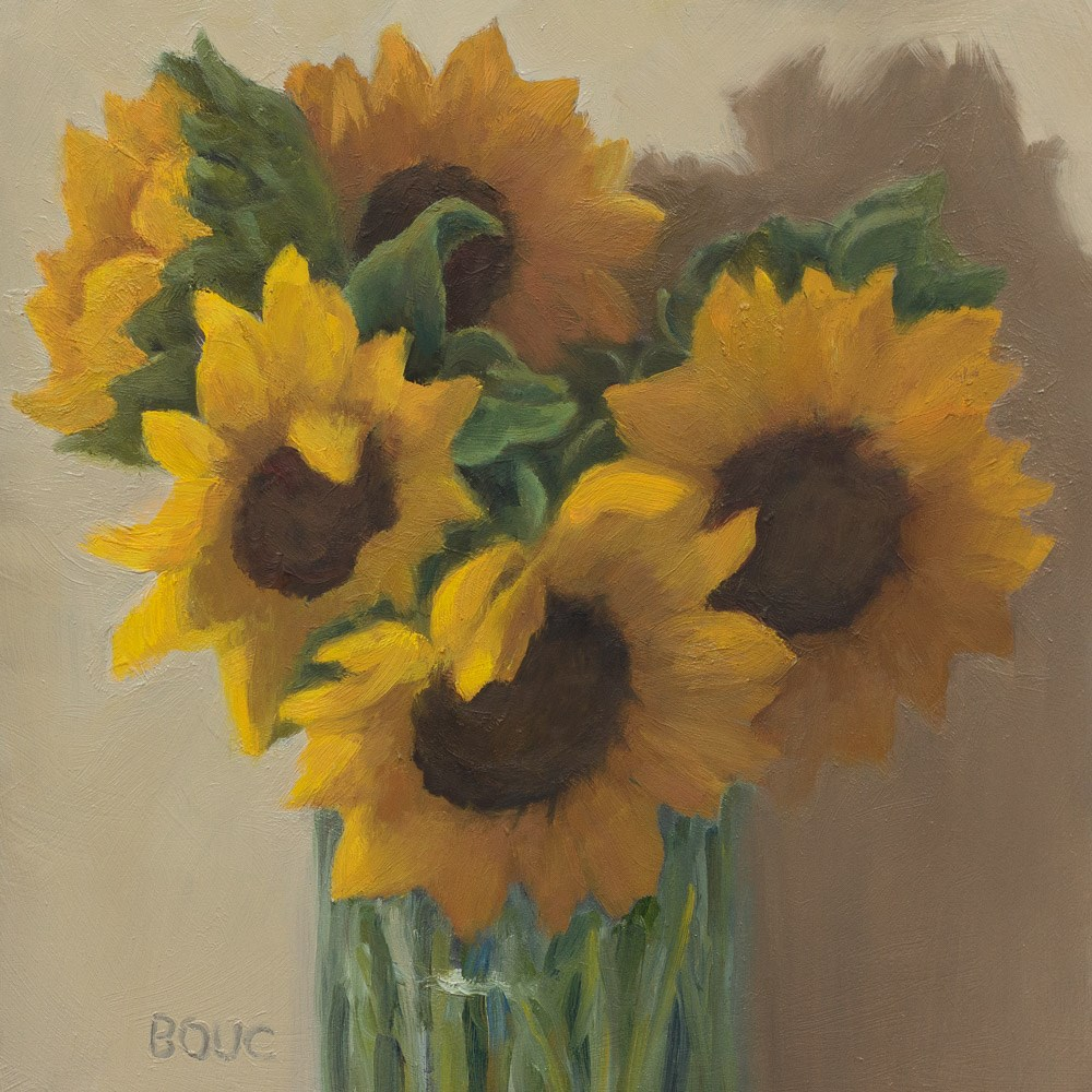 """Sunflowers in Spaghetti Jar"" original fine art by Jana Bouc"