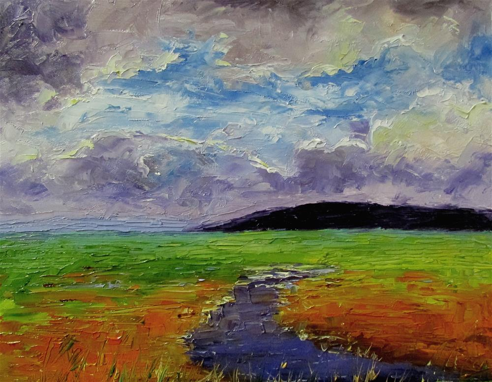 """8 x 10 inch oil The Estuary"" original fine art by Linda Yurgensen"