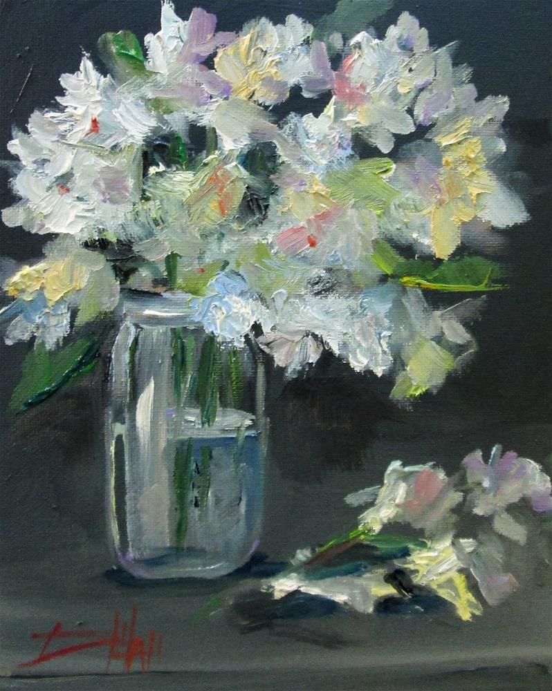 """""""White Flowers in a JAr"""" original fine art by Delilah Smith"""