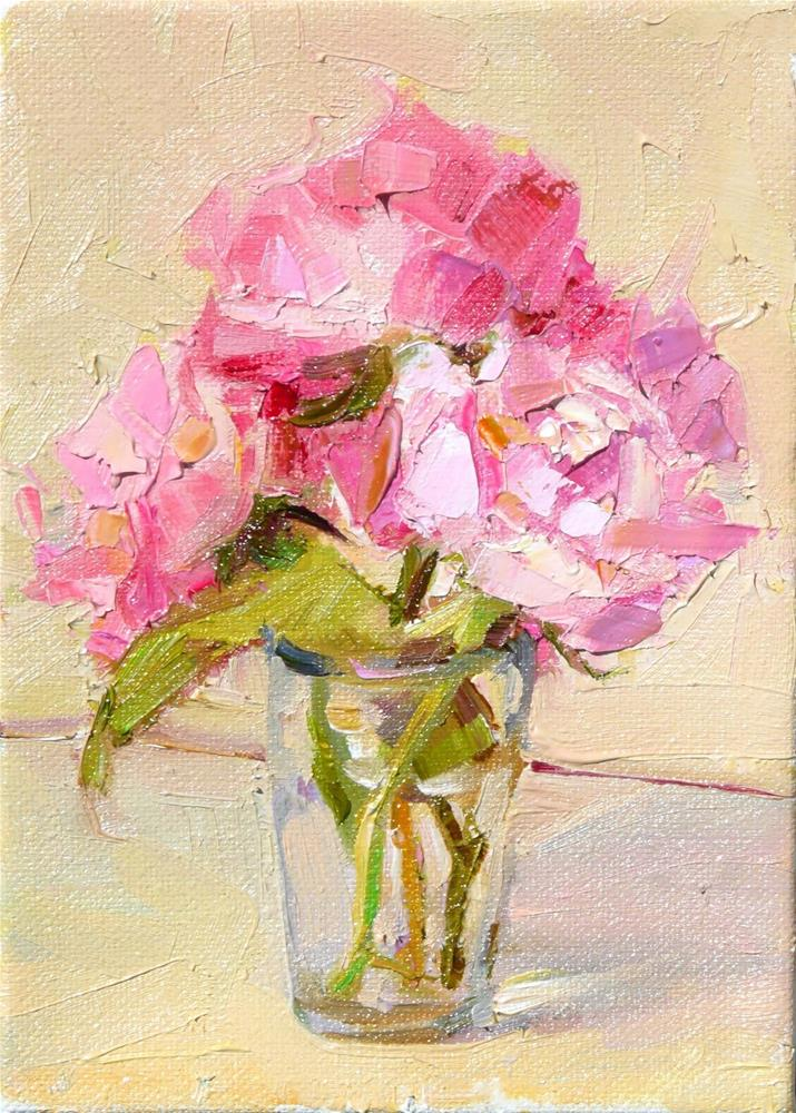 """Glass of Roses,still life,oil on canvas,7x5,price$175"" original fine art by Joy Olney"