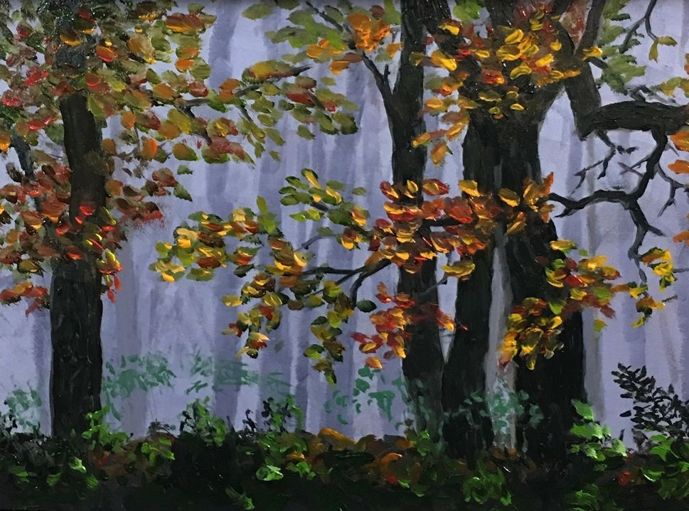 """Misty Autumn Morning"" original fine art by Elizabeth Elgin"