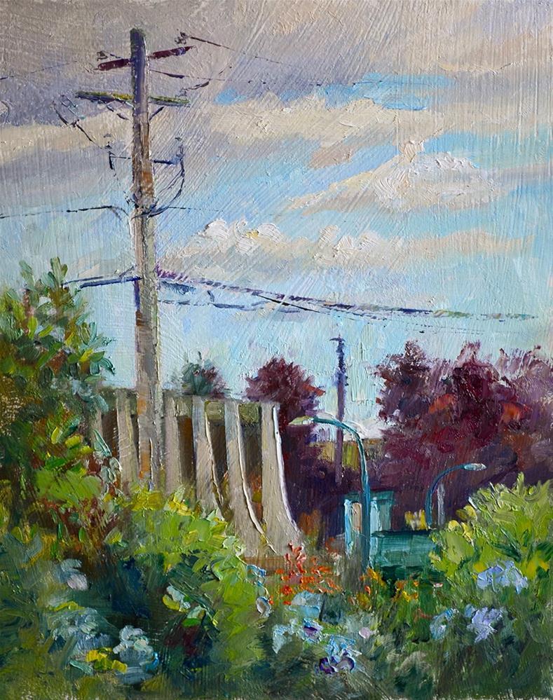 """""""High Street Beyond My Garden"""" original fine art by Denise Maxwell"""