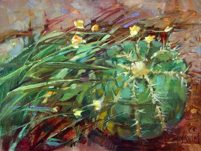 """Barrel Cactus with Yellow Flowers"" original fine art by Mary Maxam"