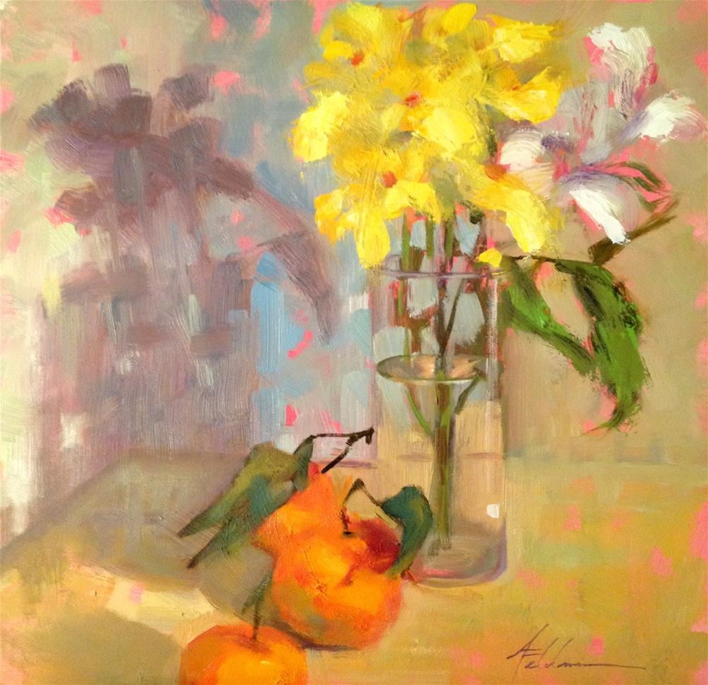 """Flowers for the Table, 12x12"" original fine art by Ann Feldman"