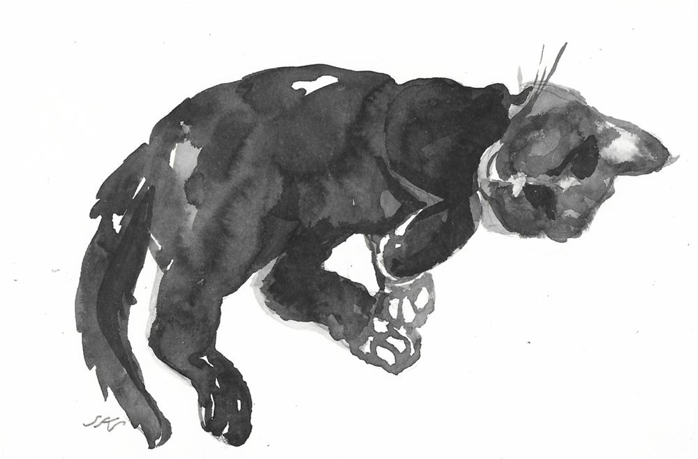 """Daily Cat 41"" original fine art by Jean Krueger"