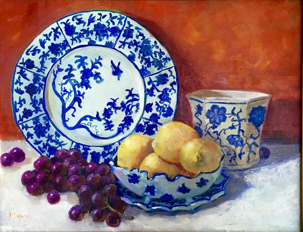"""Lemons in Blue Bowl"" original fine art by Phyllis Davis"