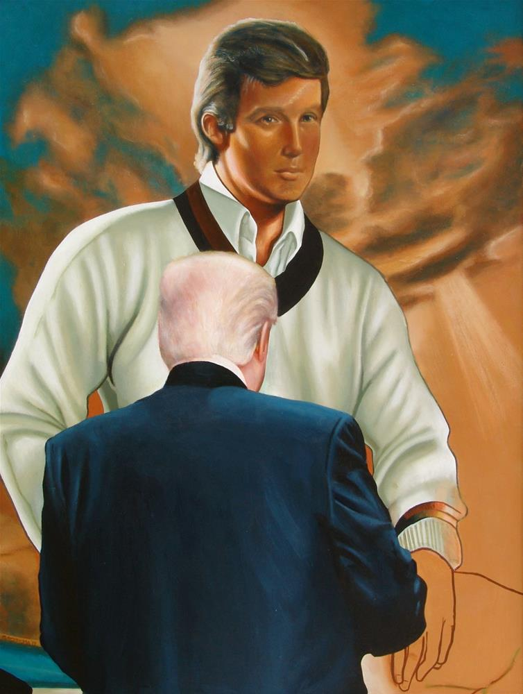 """Donald Trump Looking At Himself- Painting of a Donald Trump enjoying painting of a young Donald Trum"" original fine art by Gerard Boersma"