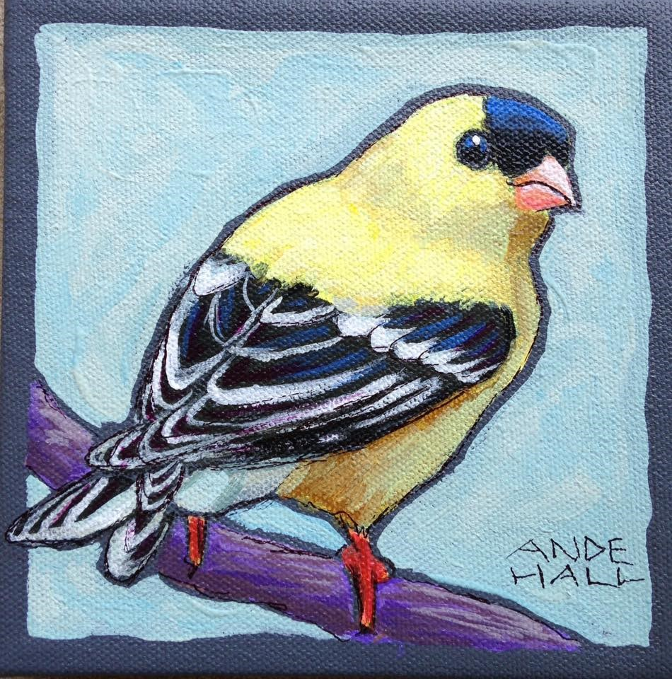 """""""American Goldfinch"""" original fine art by Ande Hall"""