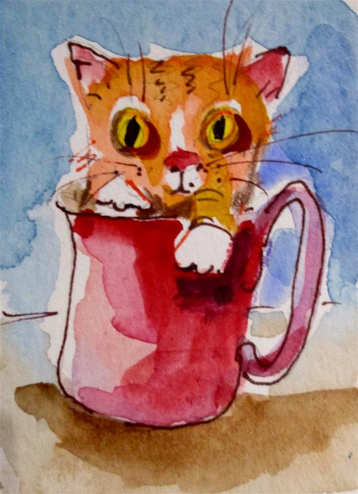 """""""Cup of Tabby"""" original fine art by Delilah Smith"""