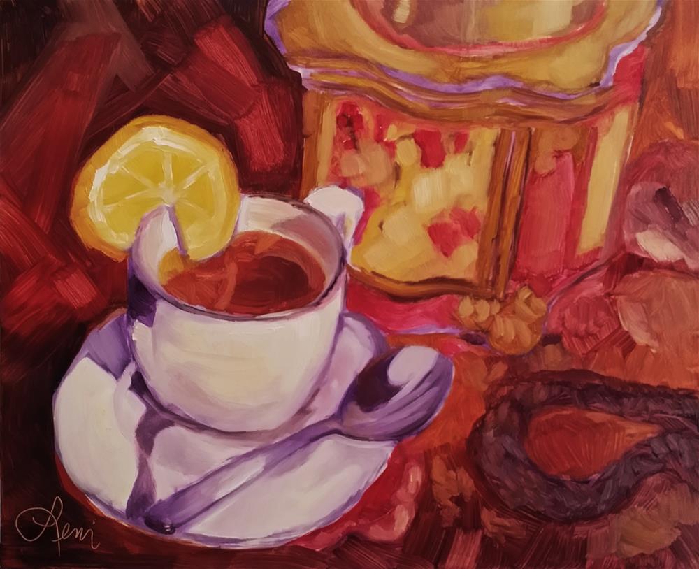 """""""Tea For One"""" original fine art by Leni Tarleton"""
