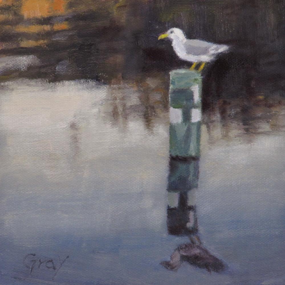 """Gull on a Buoy"" original fine art by Naomi Gray"