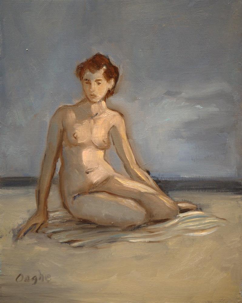 """Gray Day on Beach"" original fine art by Angela Ooghe"