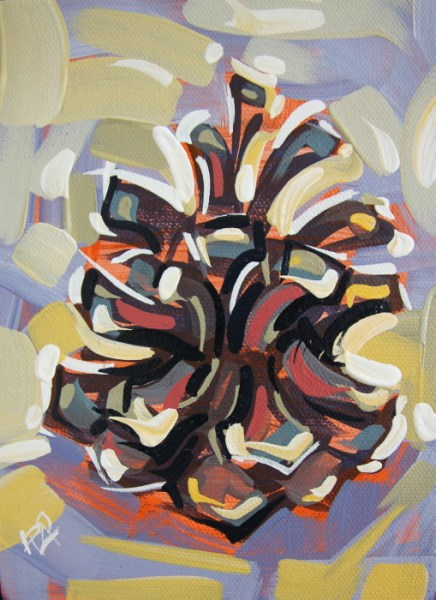 """Pine Cone Abstraction 14"" original fine art by Roger Akesson"