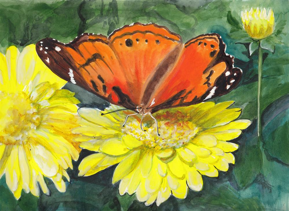 """""""Butterfly on Yellow Flower"""" original fine art by Bunny Griffeth"""