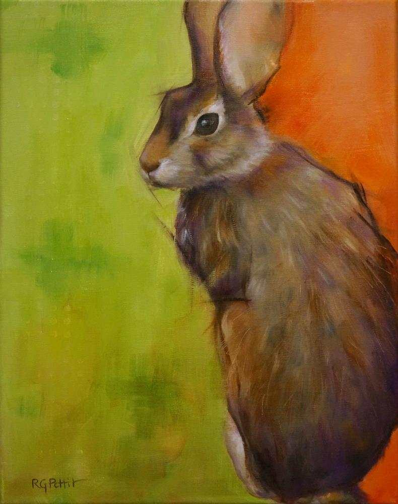 """""""Rabbit in Green"""" original fine art by Rhea  Groepper Pettit"""