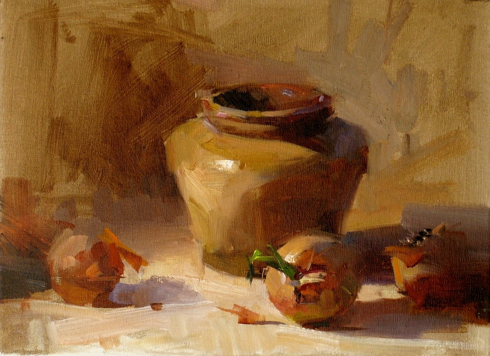 """Onions and Jar"" original fine art by Qiang Huang"