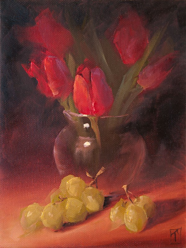 """""""Study of Tulips and Grapes"""" original fine art by Lori Twiggs"""