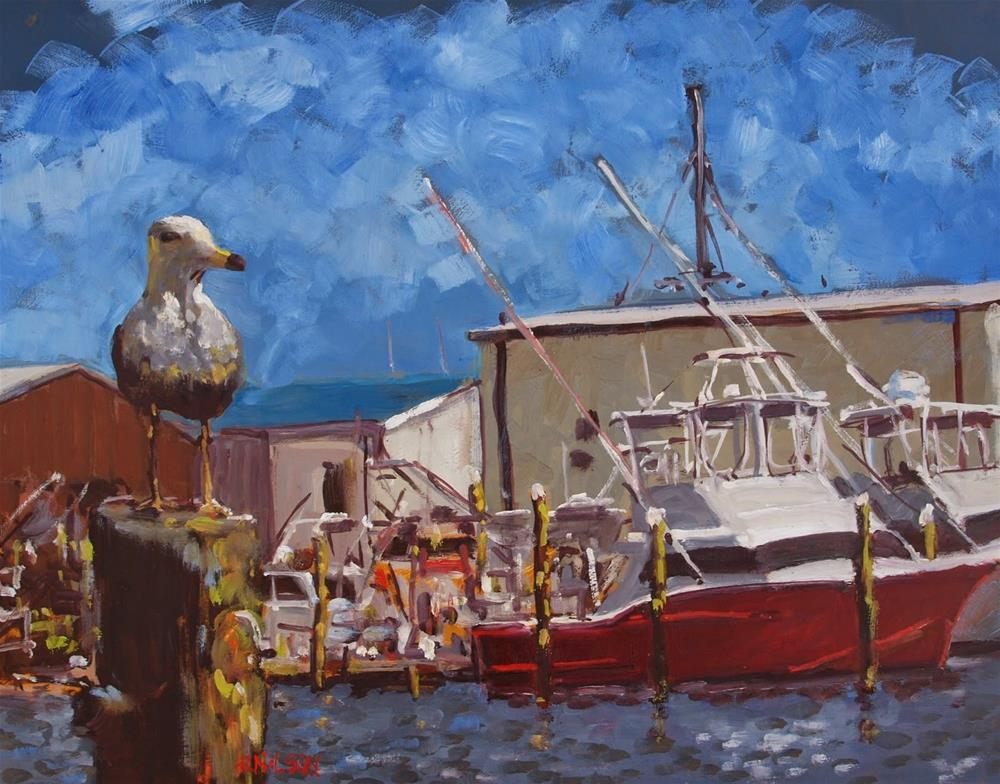 """Sportfishers and Gull"" original fine art by Rick Nilson"