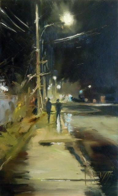 """Winslow Way nocturne, urban oil painting"" original fine art by Robin Weiss"