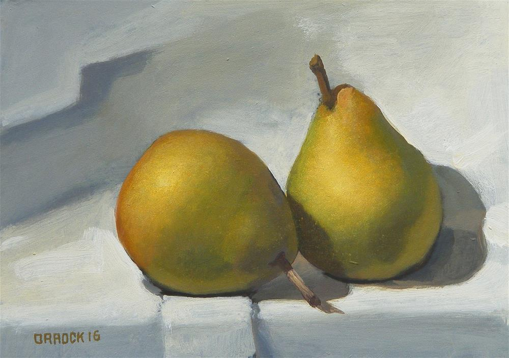 """A pair of pears"" original fine art by Peter Orrock"