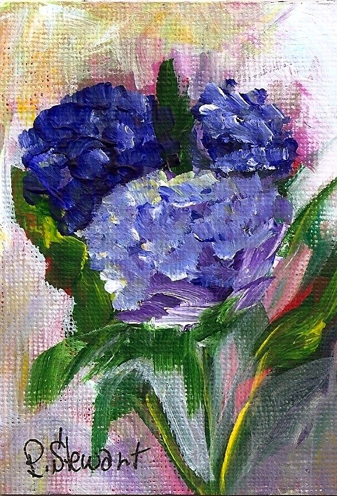"""Hydrangias, ACEO original, not a print, acrylic signed by artist"" original fine art by Penny Lee StewArt"