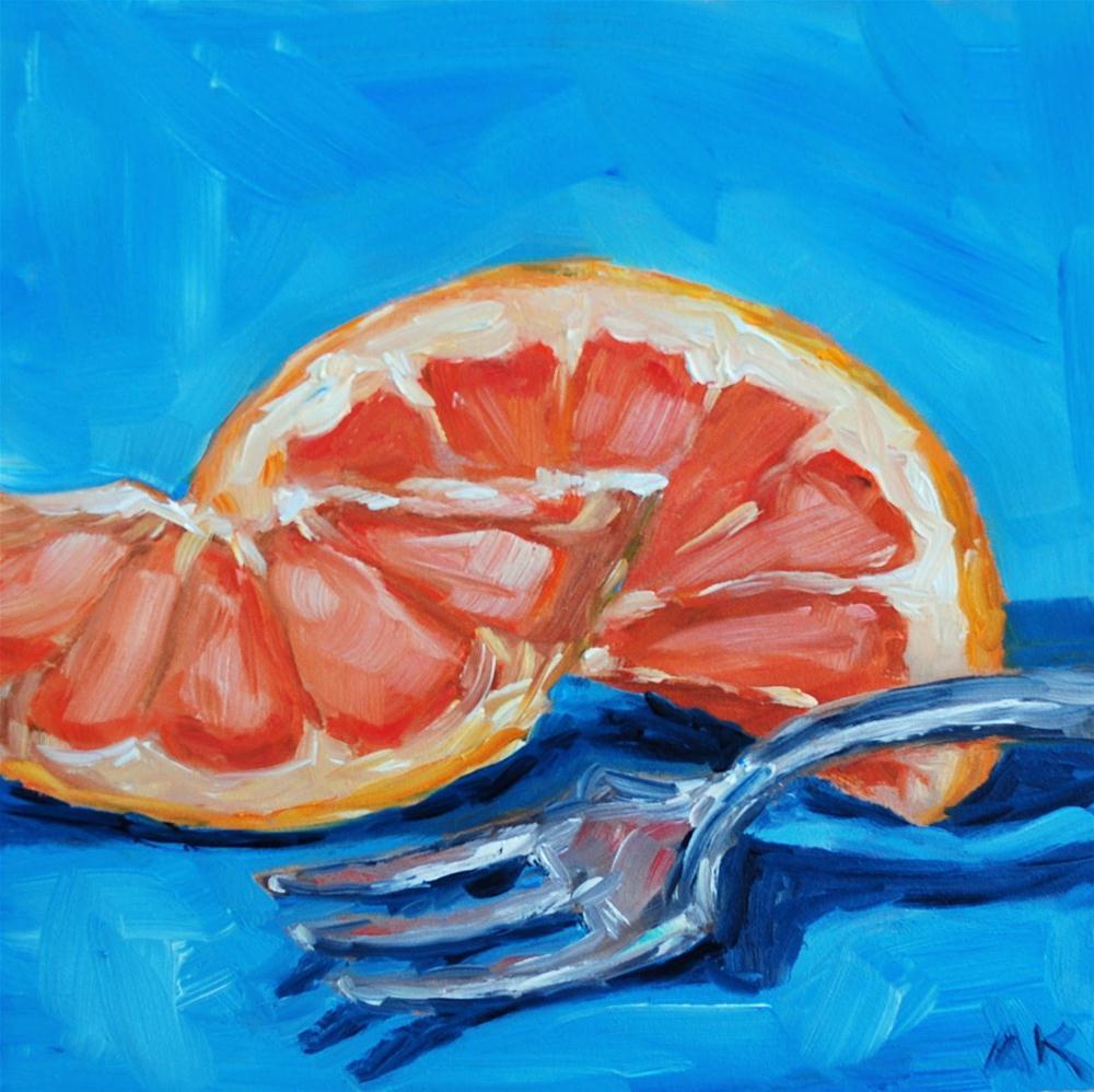 """Cut Grapefruit with Fork"" original fine art by Alison Kolkebeck"