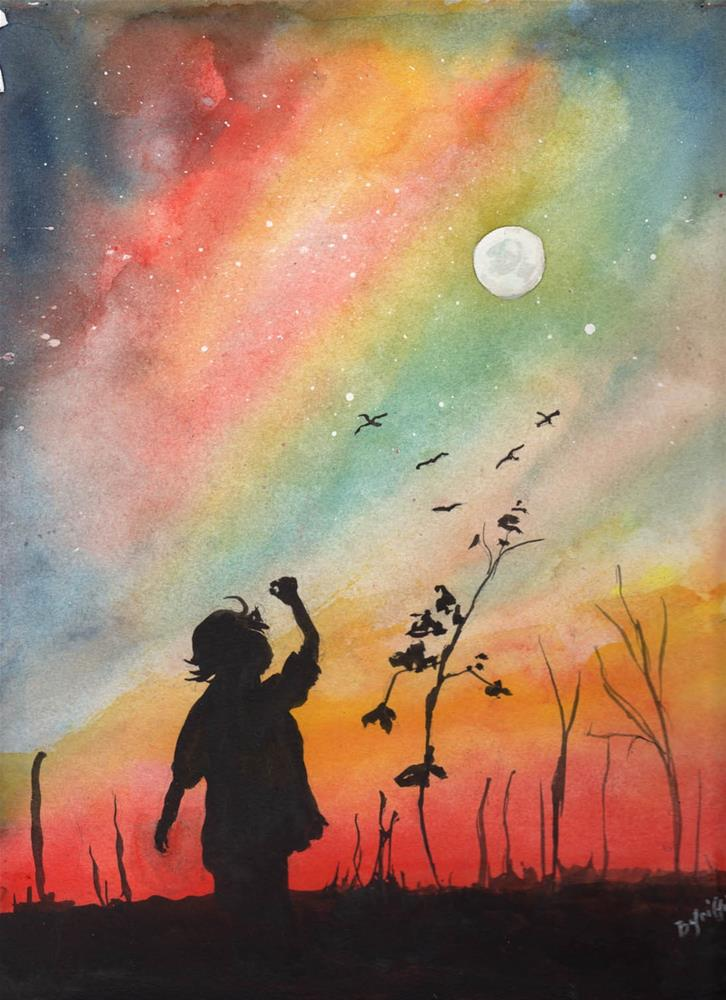 """Silhouette Littel Girl"" original fine art by Bunny Griffeth"