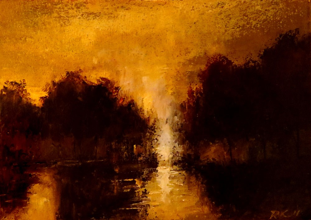 """Sunset Over the Lake"" original fine art by Bob Kimball"