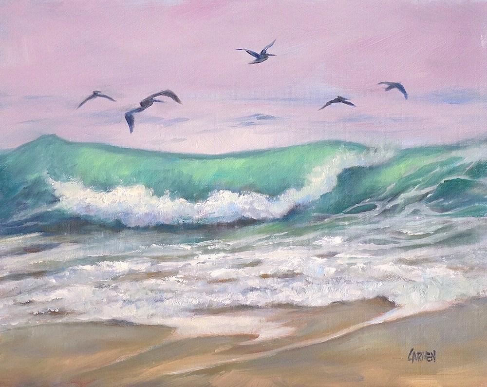 """""""Pelicans in Flight, 8x10 Oil on Canvas Panel, Seascape with Birds"""" original fine art by Carmen Beecher"""