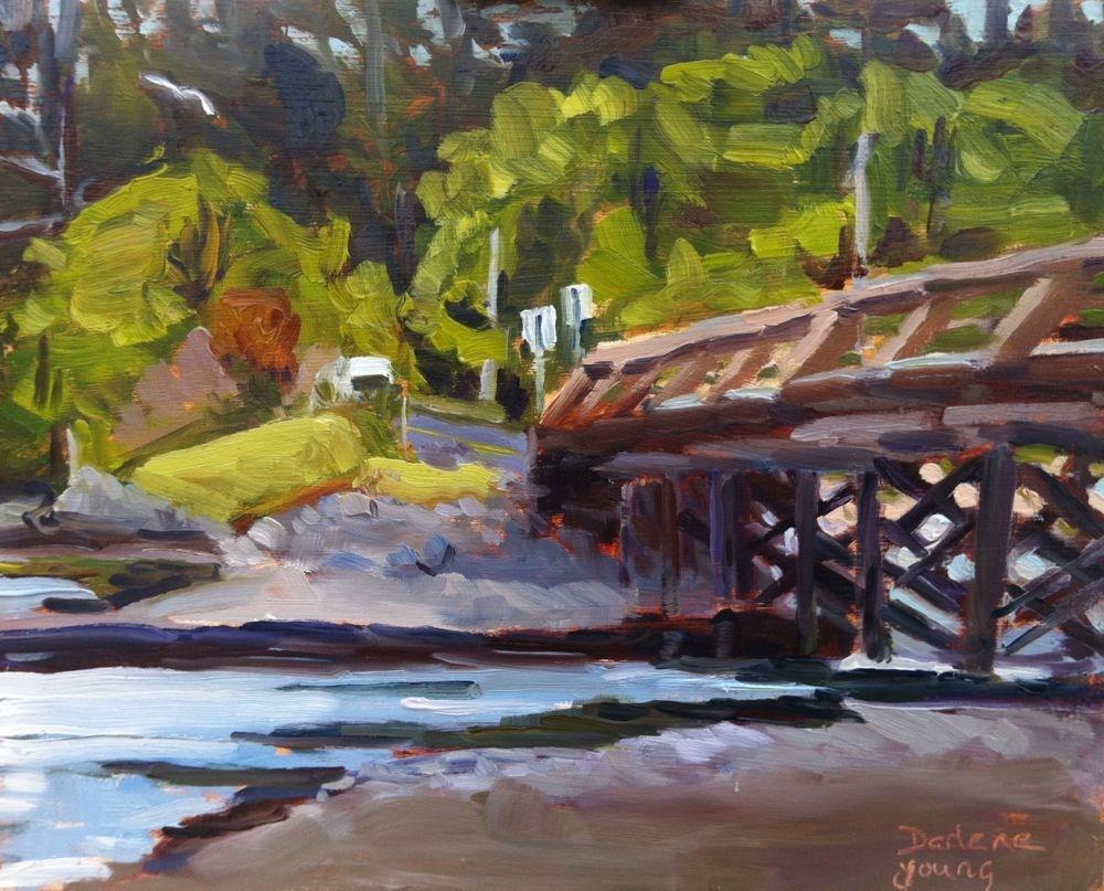"""The Bridge, oil on board, 8x8"" original fine art by Darlene Young"