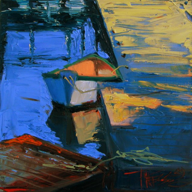 """""""A Little Dingy  oil marine painting"""" original fine art by Robin Weiss"""