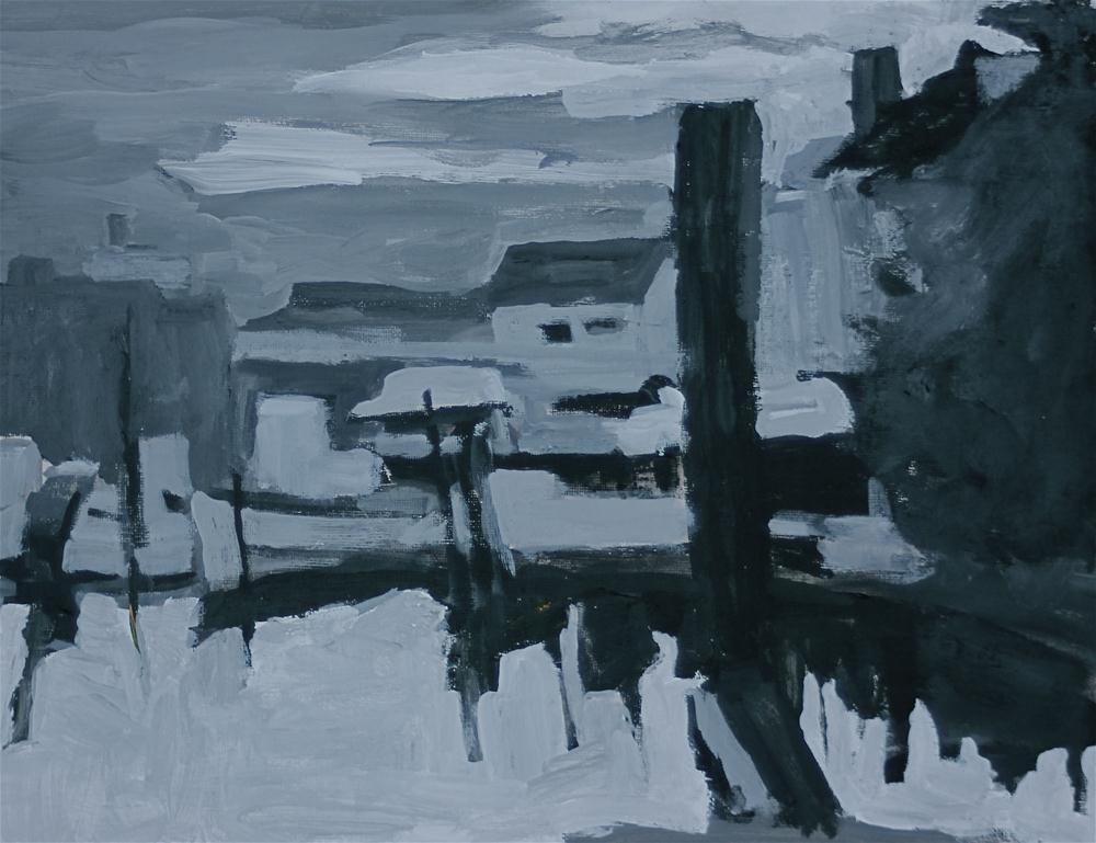 """Marina in Black & White"" original fine art by Christine Parker"