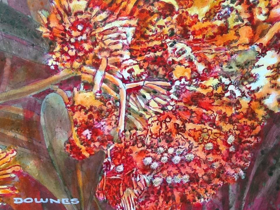 """026 GREVILLEA 5"" original fine art by Trevor Downes"