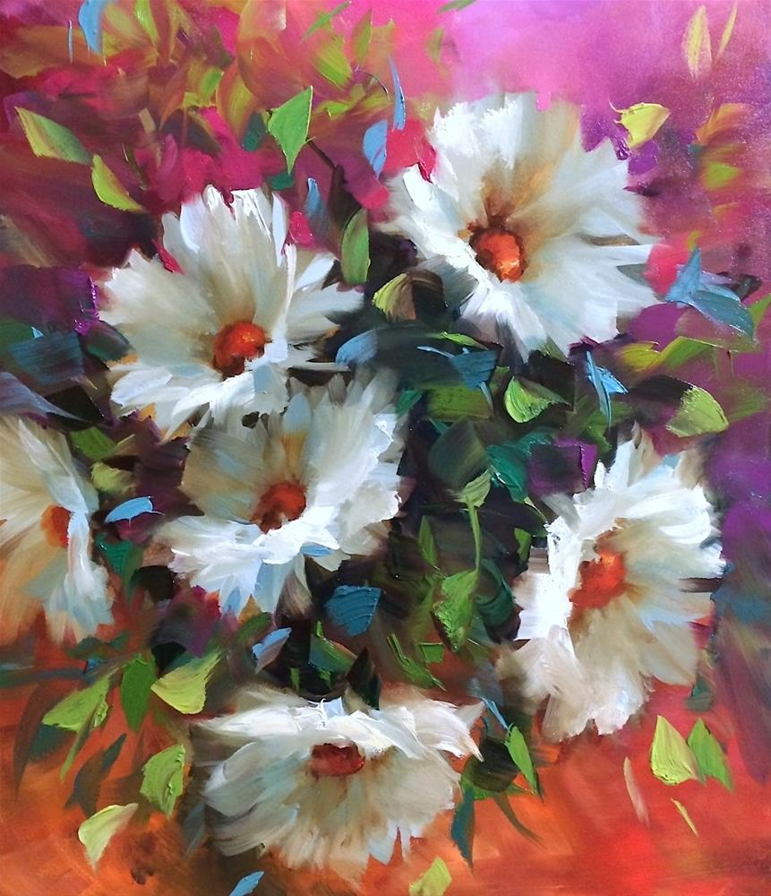 """""""We Are Open! Painting Brilliant Colors Online Class Registration Begins Today - Pinkberry Daisies"""" original fine art by Nancy Medina"""
