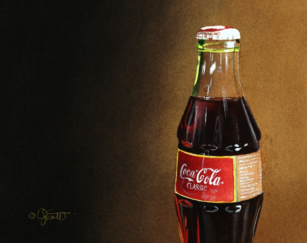 """Coke with Gradation"" original fine art by Jacqueline Gnott, TWSA, WHS"