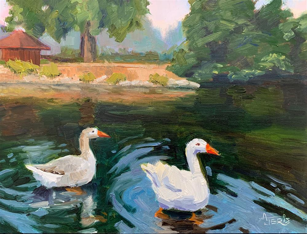 """Geese Wading into the River"" original fine art by Andrea Jeris"