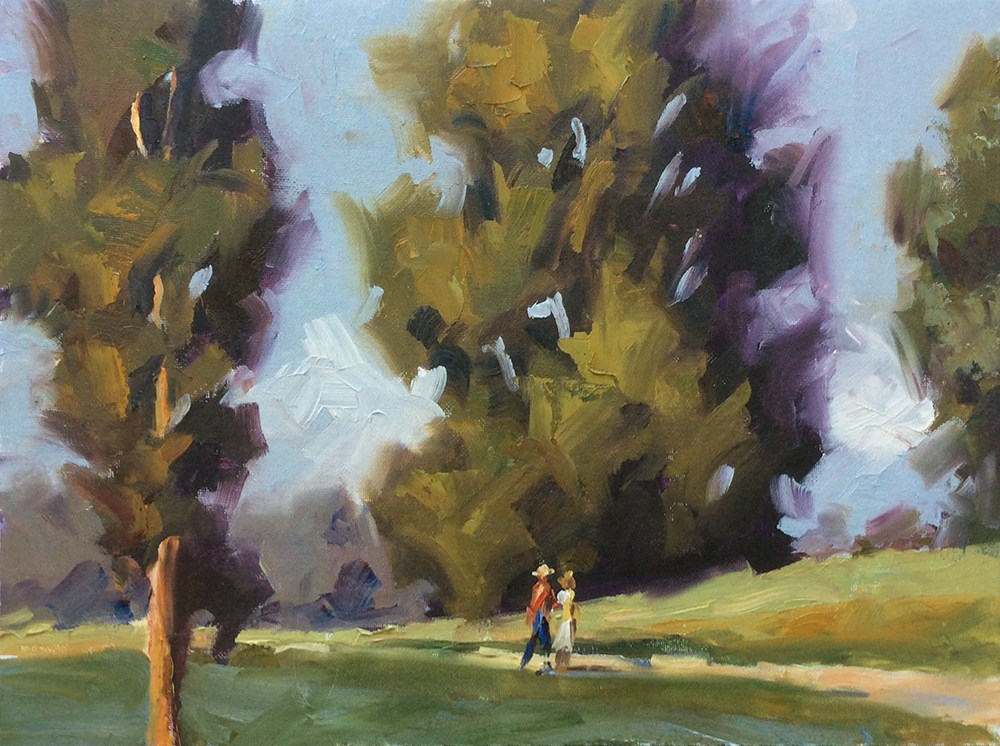 """A WALK IN THE PARK"" original fine art by Tom Brown"