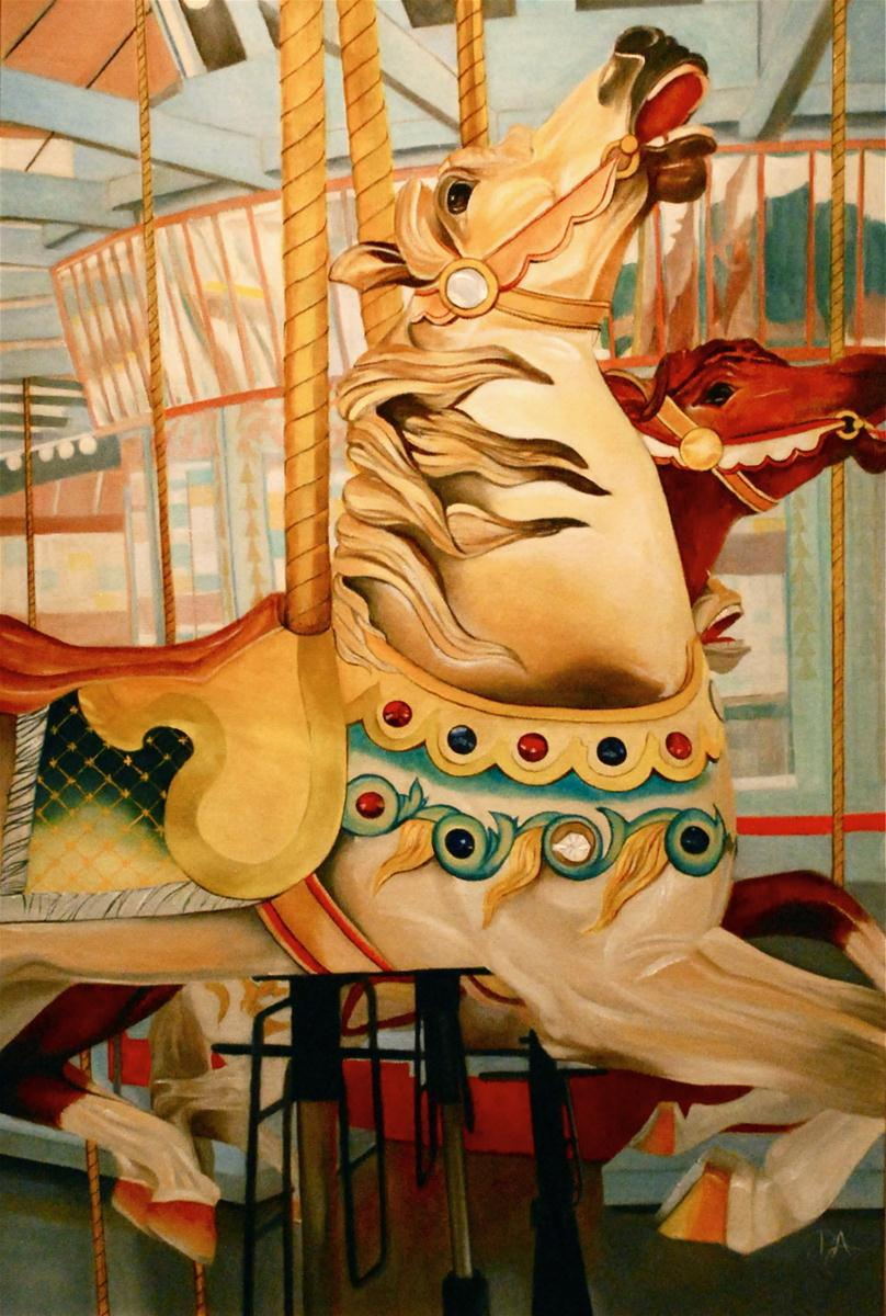 """City Park Carousel"" original fine art by Patti Adams"
