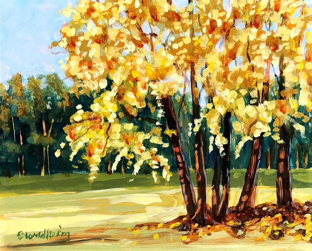 """Summer Sale Paintings Yellow Trees"" original fine art by Linda Blondheim"