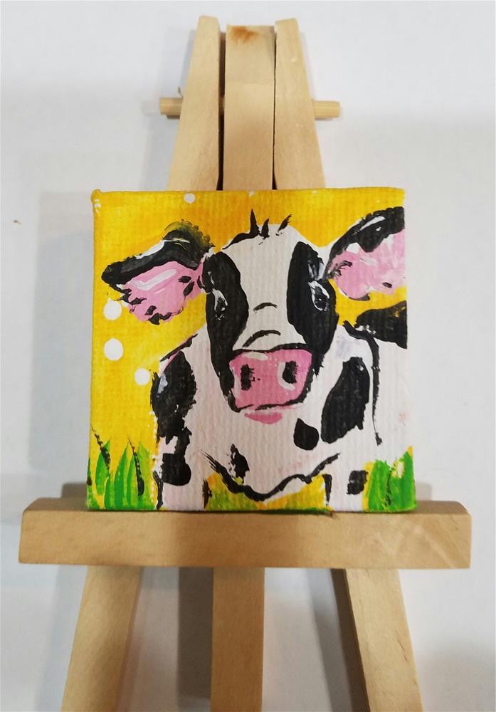 """""""Itty Bitty Cow #646"""" original fine art by Terri Einer"""