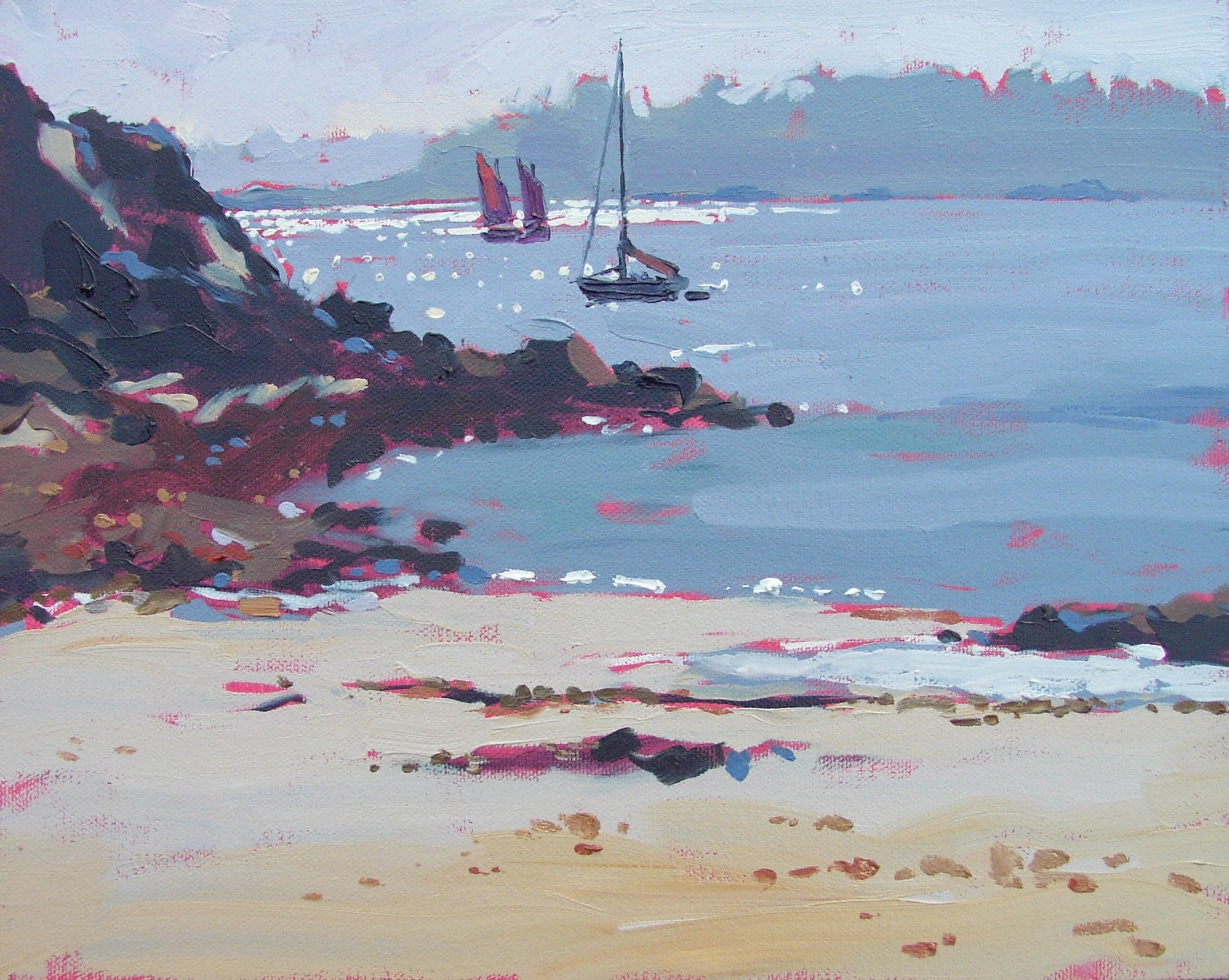 """""""Late afternoon at Guerzido beach"""" original fine art by Haidee-Jo Summers ROI"""