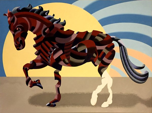 """Mark Webster - New Progress on Abstract Geometric Futurist Horse Oil Painting"" original fine art by Mark Webster"