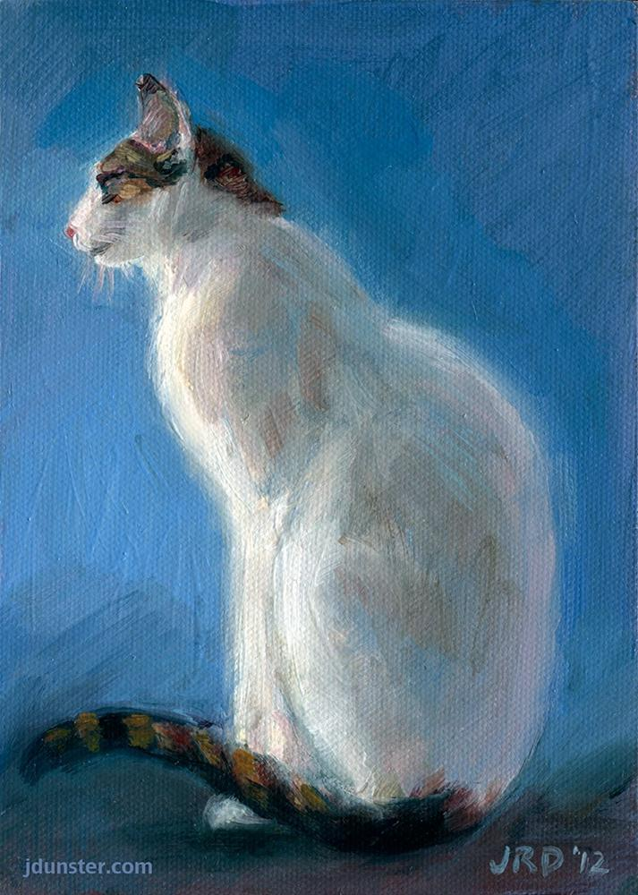 """White Kitty [STUDIO SALE SERIES]"" original fine art by J. Dunster"