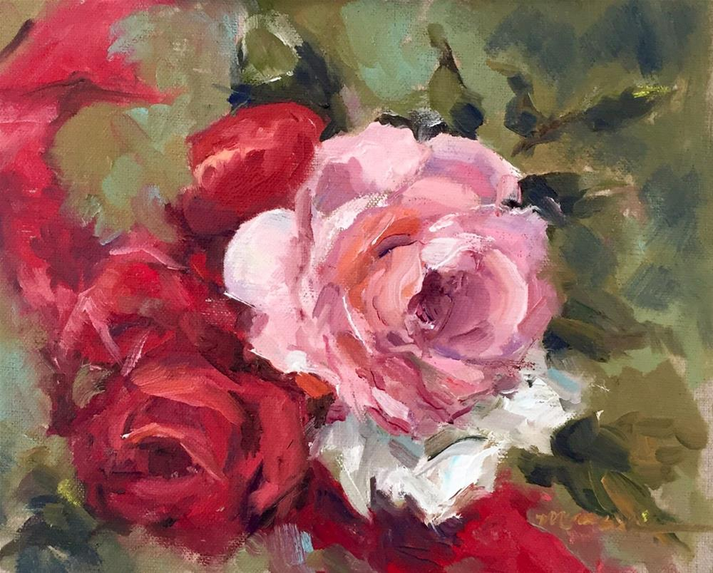 """Roses and Ribbons"" original fine art by Marcia Hodges"