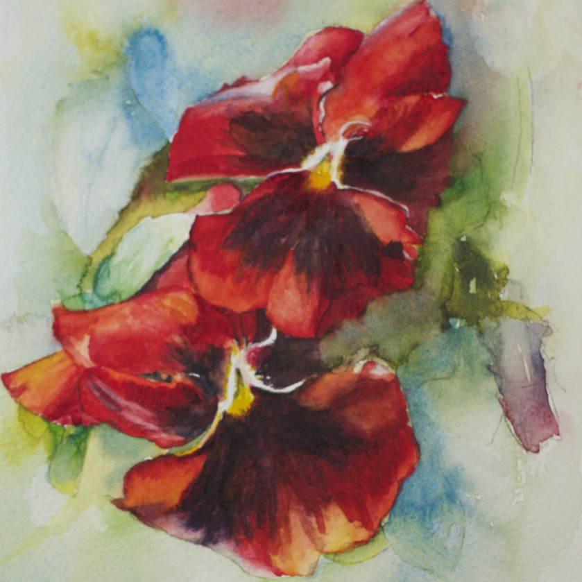 """Pansy Dance"" original fine art by Sue Churchgrant"