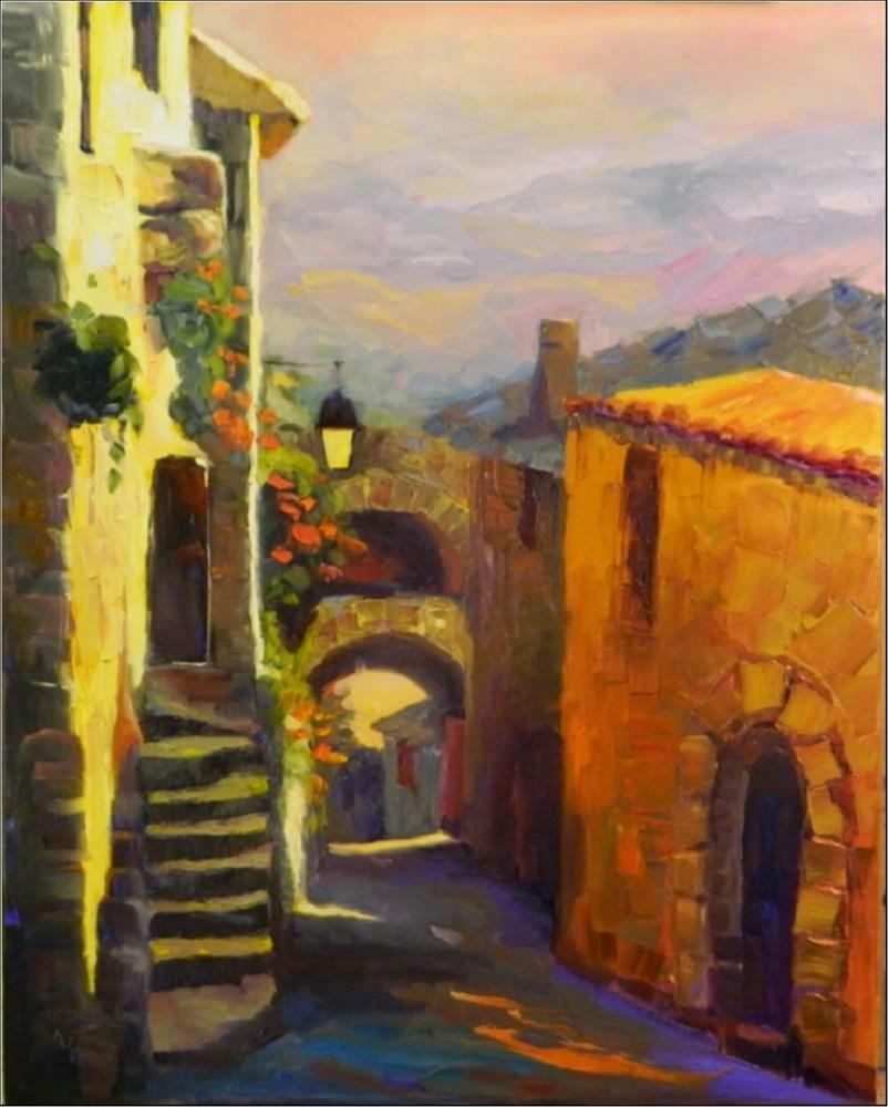 """Provencial Light, 30x24, oil on wrapped canvas, Provence, Lacoste, impasto, palette knife landscpa"" original fine art by Maryanne Jacobsen"