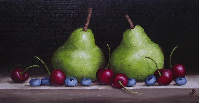 """""""Pears with Cherries and Blueberries"""" original fine art by Jane Palmer"""
