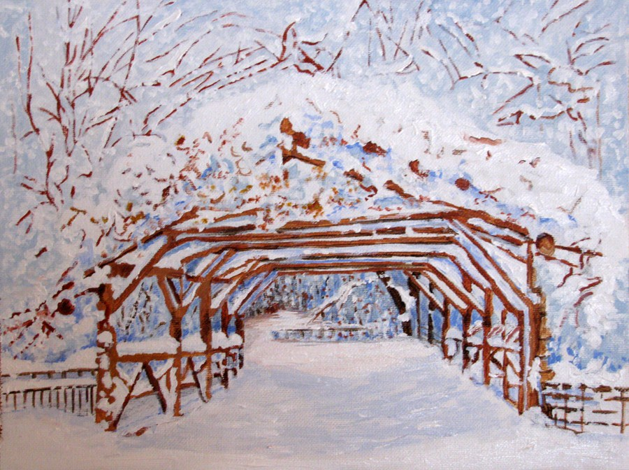 """Winter Pergola"" original fine art by Nan Johnson"